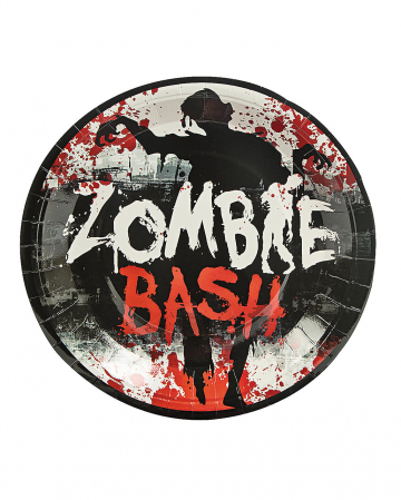 Large Zombie Paper Plate Bash 8 Pcs