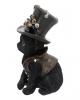 Schwarze Katze mit Steampunk Zylinder 18,5cm