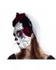 Sugar Skull Maske mit Blüten & Schleier