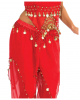 Oriental Belly Dance Costume In Red With Coins