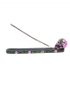 Sugar Skull With Flowers Incense Holder