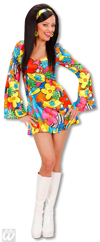 Kostüm 70er Jahre Kleid Flower Power Größe M