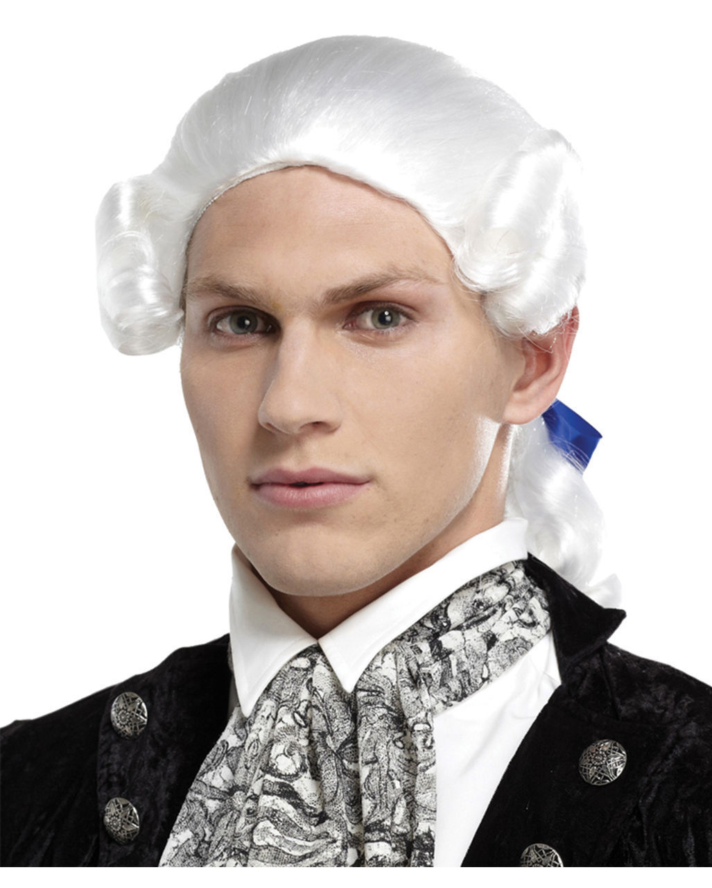 Baroque Man's Wig With Braid White To Order