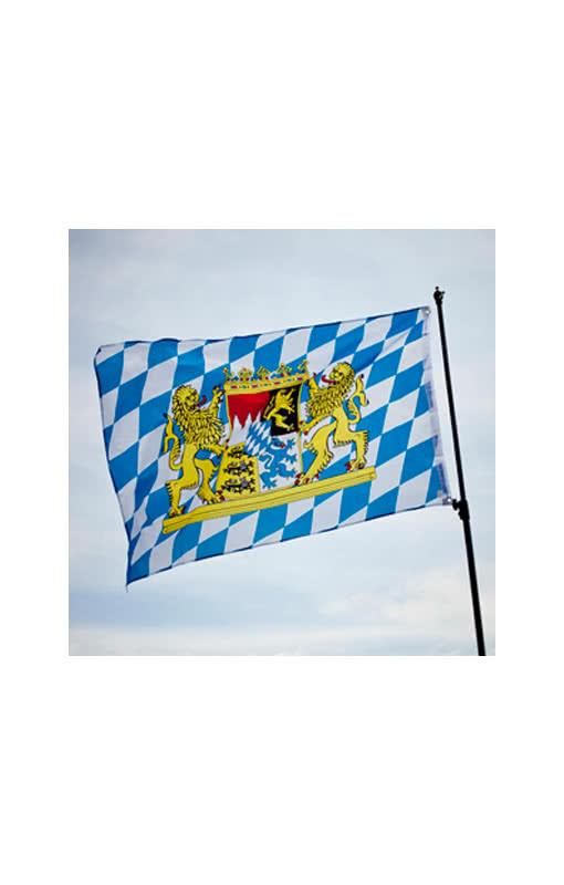 Bayern Fahne mit Wappen | Bayrische Flagge weiß/blau ...