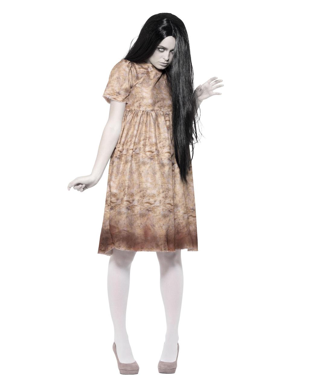Boser Geist Damenkostum Mit Perucke Fur Halloween Horror Shop Com