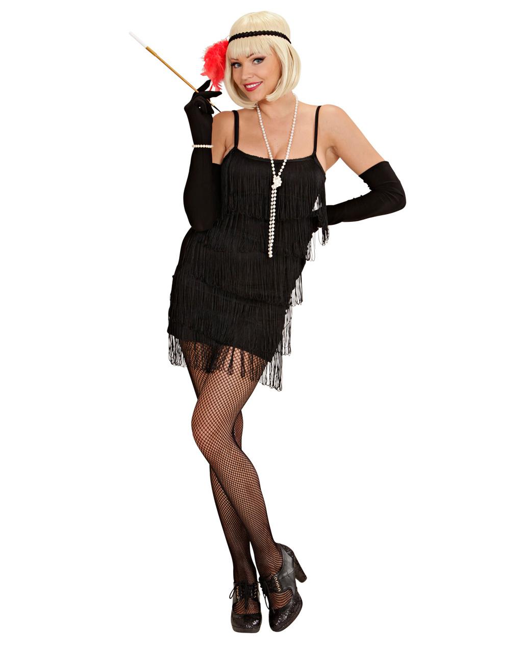 Discounter klassische Schuhe feinste Stoffe Charleston Kleid schwarz Medium