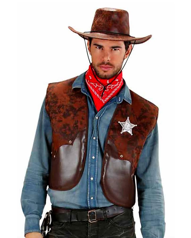 Cowboy Weste Wilder Westen Hut Kostüm Texas Rode Cowboyweste