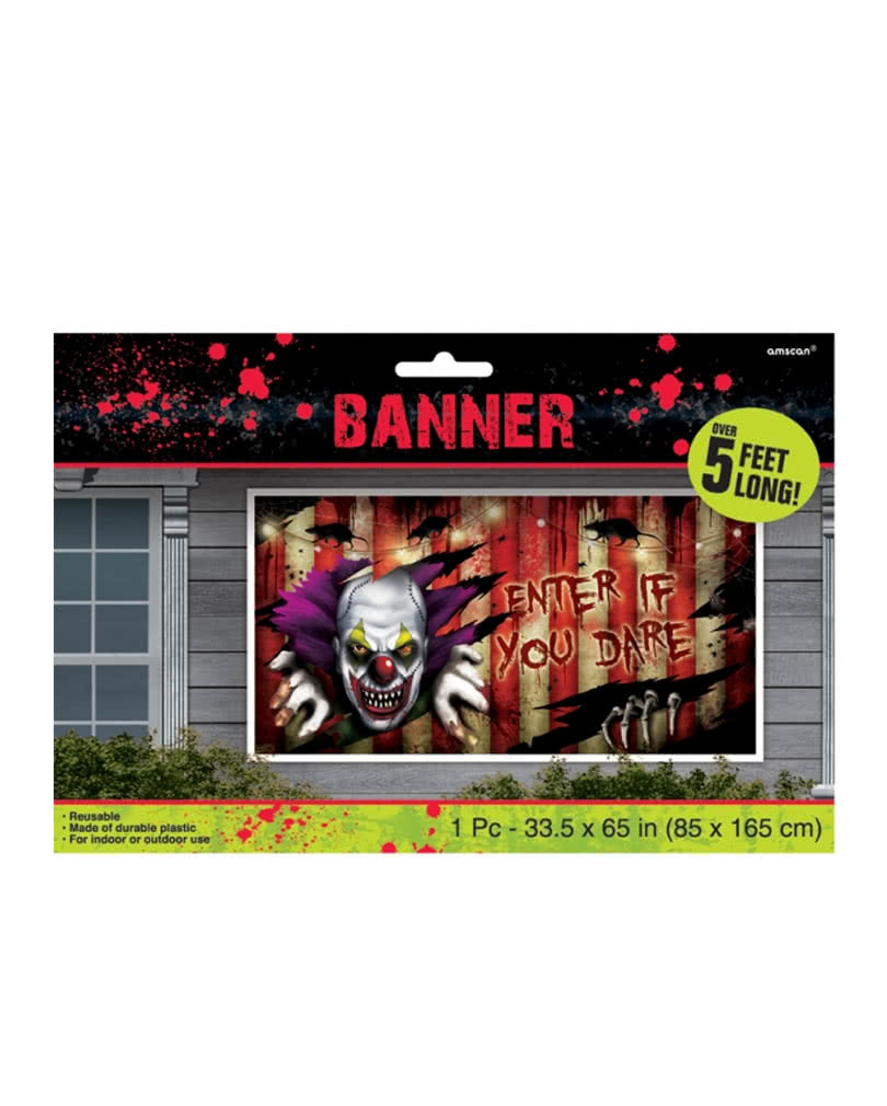 Creepy Clown Halloween Decorations.Creepy Clown Banner