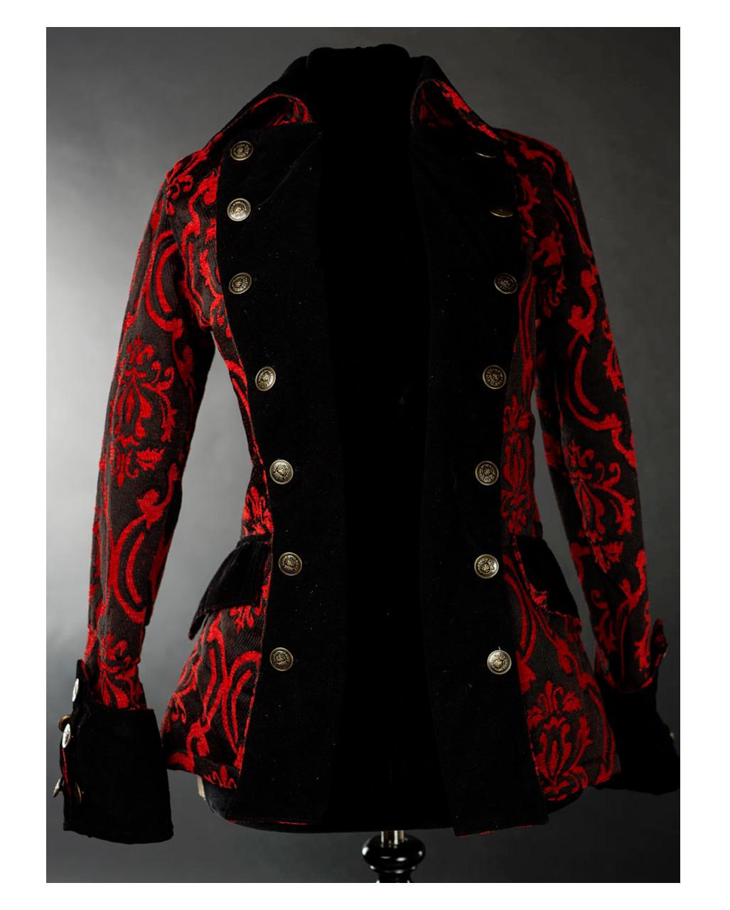 Ladies Pirate Jacket Red Brocade