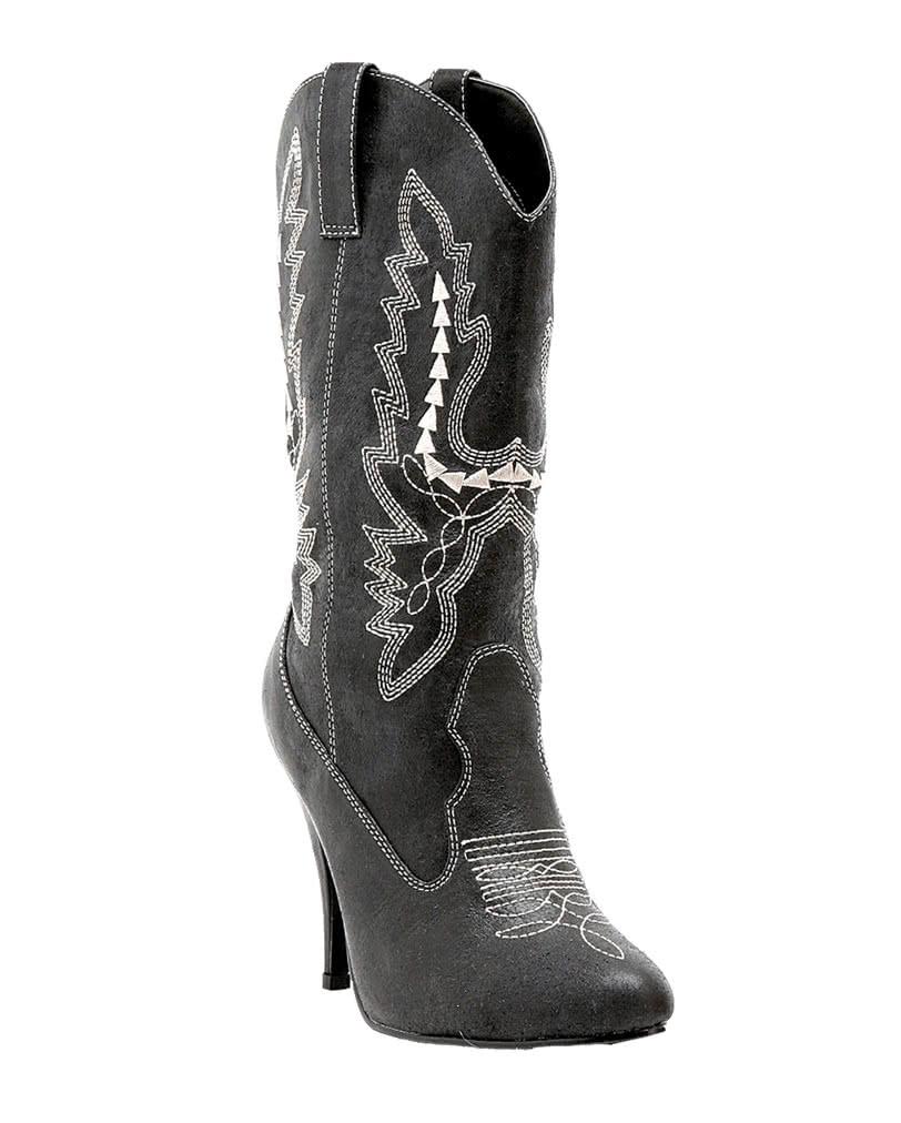 kostenloser Versand wie kommt man Brandneu Damen Cowboy Stiefel schwarz