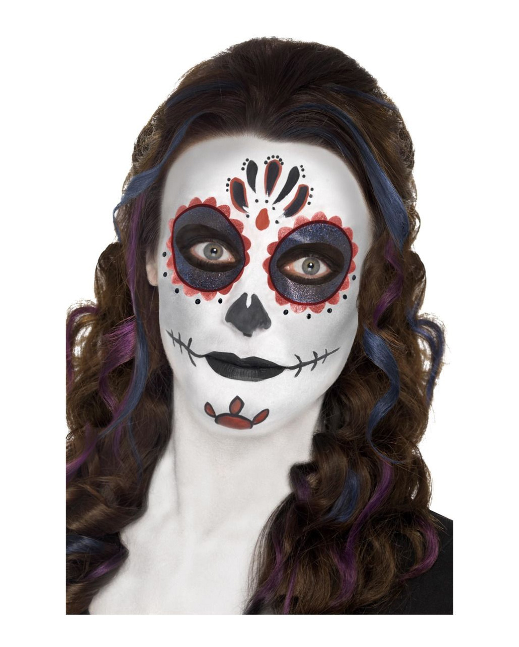 Halloween Schminke Deutsch.Day Of The Dead Makeup Set Complete Make Up Set With Accessories Horror Shop Com