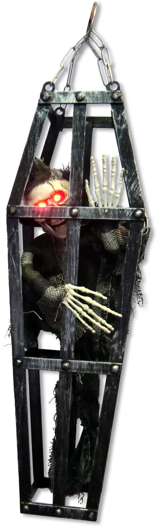 decoration skeleton in the cage with led eyes halloween hanging decoration horror. Black Bedroom Furniture Sets. Home Design Ideas