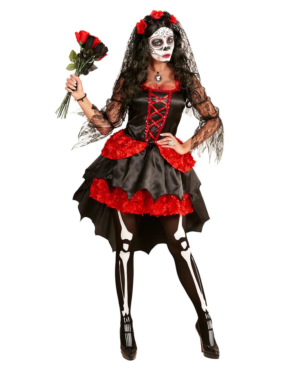 Women/'s Day Of The Dead Bride Halloween Fancy Dress Costume Hen Night Horror Fun