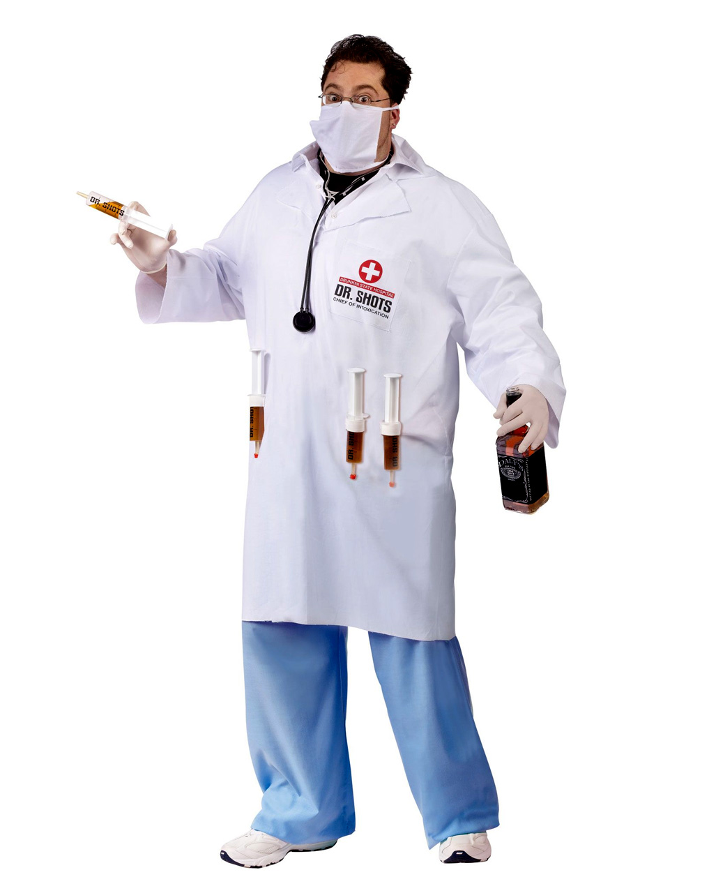Adults Unisex Hospital Doctor T Shirt Fancy Dress Top Costume Stag Accessory