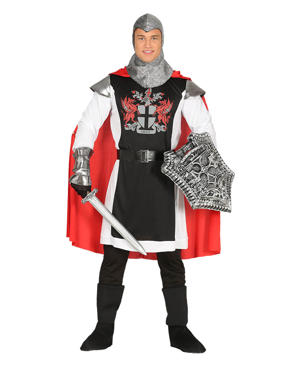 Mens Red//Black Medieval Knight Halloween Carnival Fancy Dress Costume Outfit
