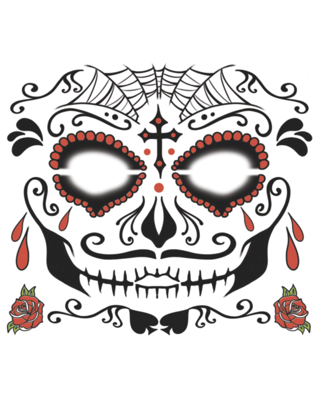 Face Tattoo Sugar Skull Male Day Of The Dead Horror Shop Com