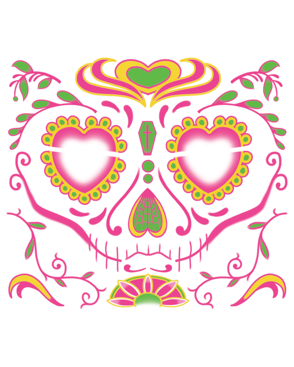 Face Tattoo Sugar Skull Female Day Of The Dead Horror Shop Com