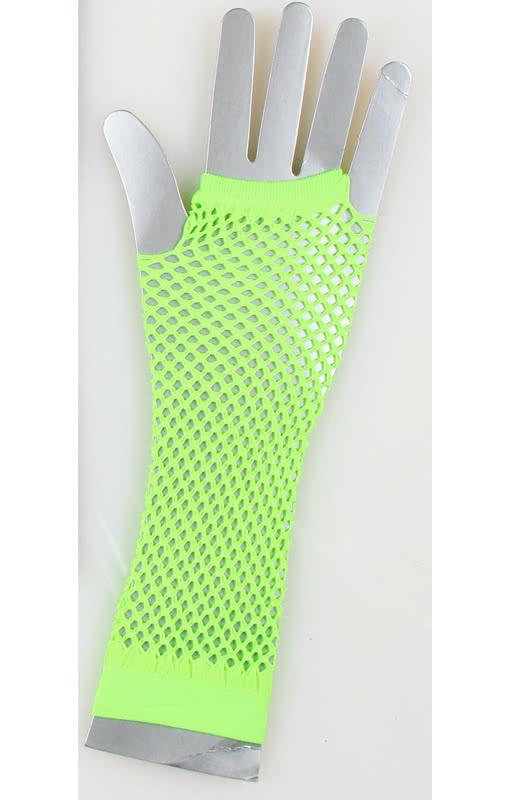 1980/'s Long Neon Green Fishnet Gloves