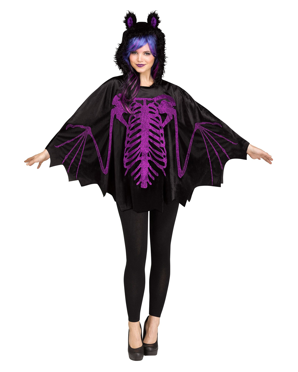 fledermaus kapuzen poncho als halloween kost m horror. Black Bedroom Furniture Sets. Home Design Ideas