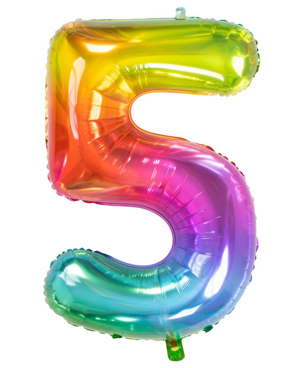 Folienballon Zahl 5 XXL Silber Zahlenballon Luftballon Geburstag Party Fünf