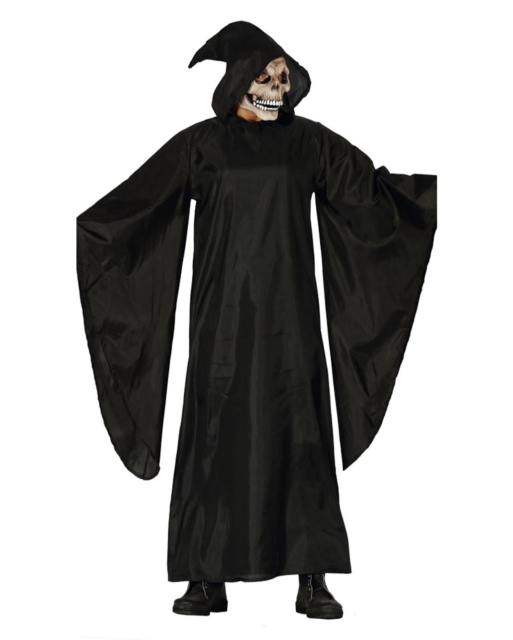 Grim Reaper Costume Adult Scary Skeleton Robe Halloween Fancy Dress