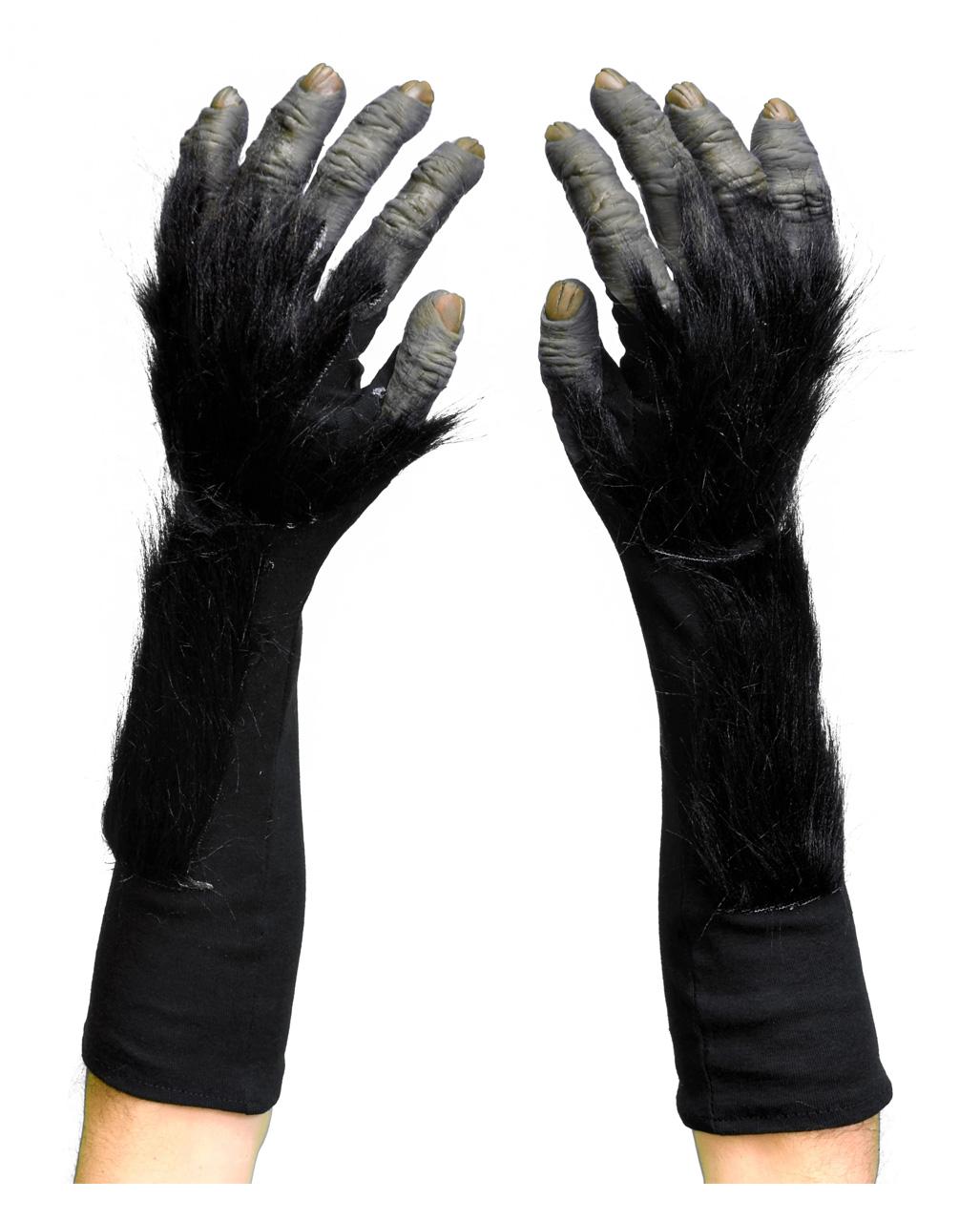 Animal Gloves Gorilla Fancy Dress Paws Hands Rubber Chimp With Black Fur Pair