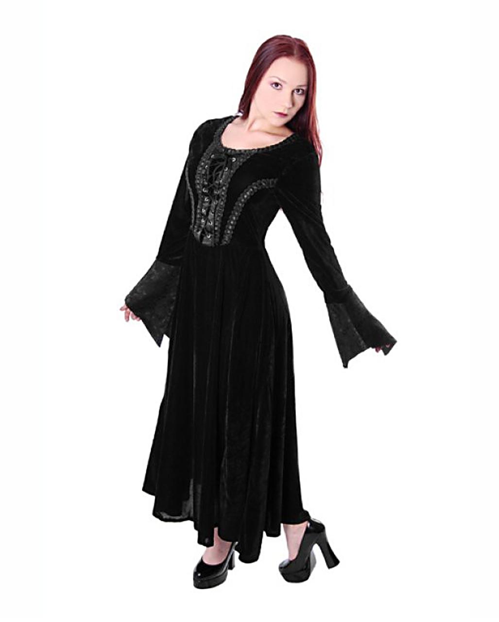 gothic mittelalter kleid samt schwarz