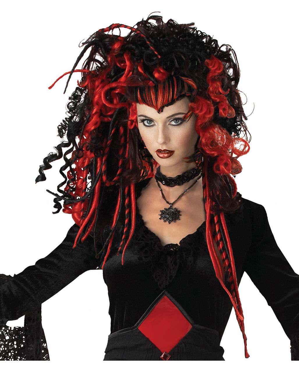 Black /& Red Alluring Vampire Wig Halloween Adult Womens Fancy Dress Costume