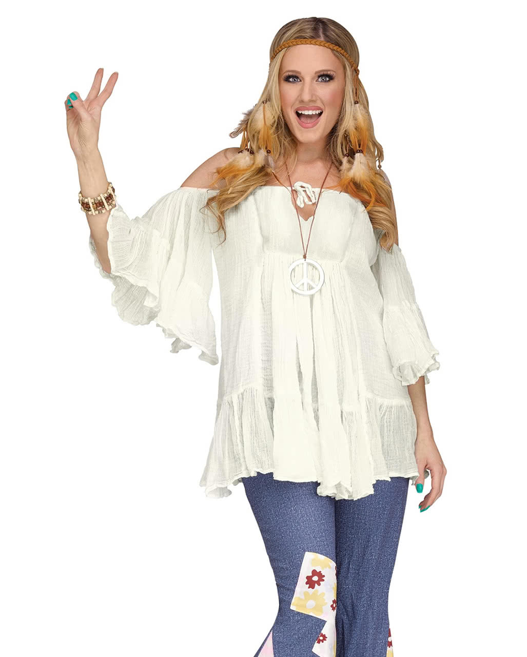 60s hippie baumwoll bluse wei kost mzubeh r horror - Hippie bluse damen ...