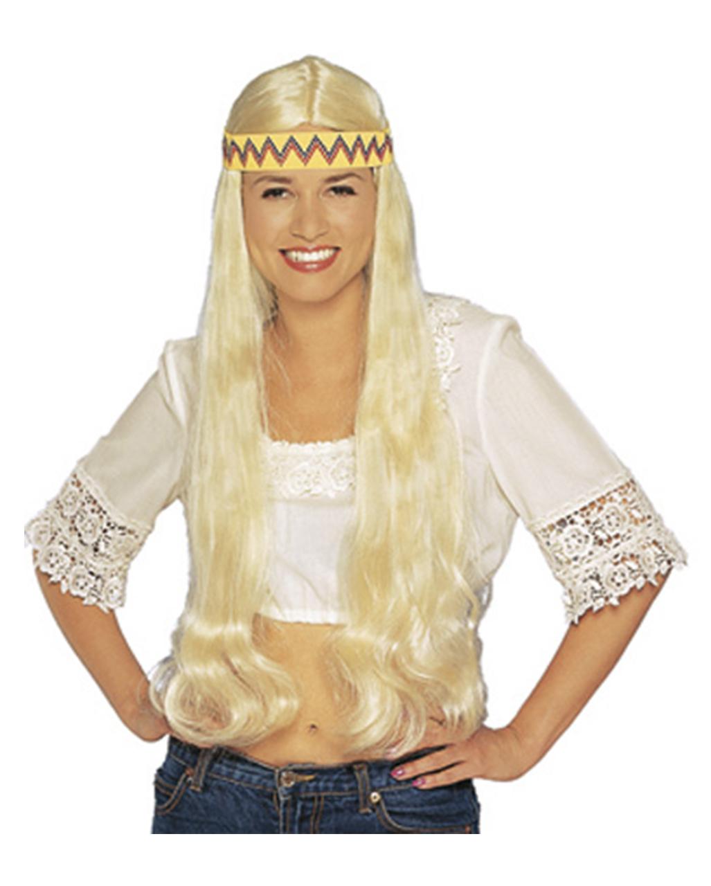 Hippie Perucke Mit Haarband Blond