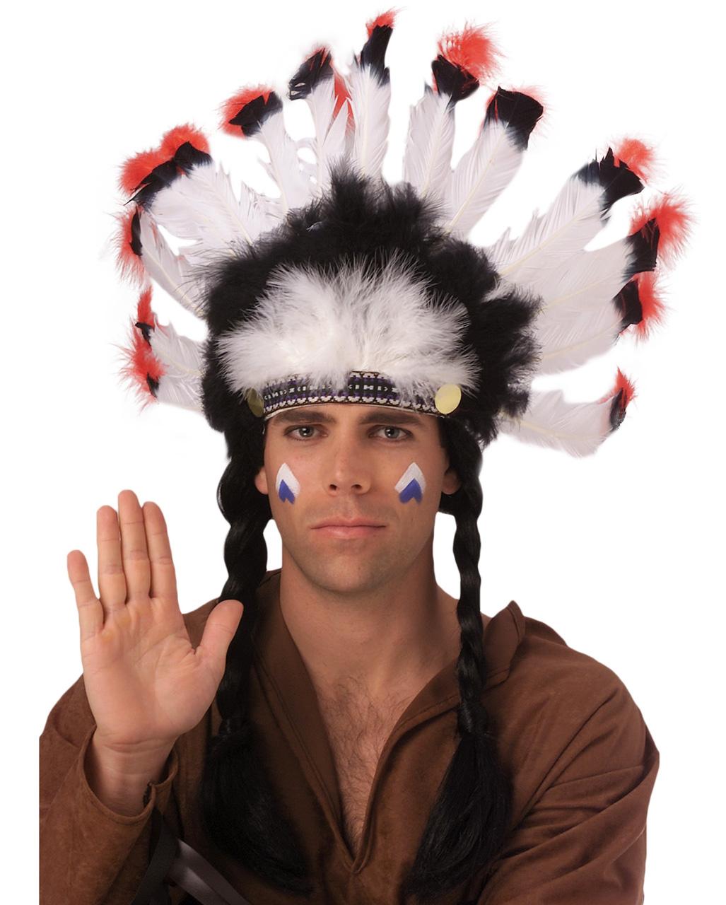 Native American Indian Feather Headdress Cosplay Party Fancy Dress Headband