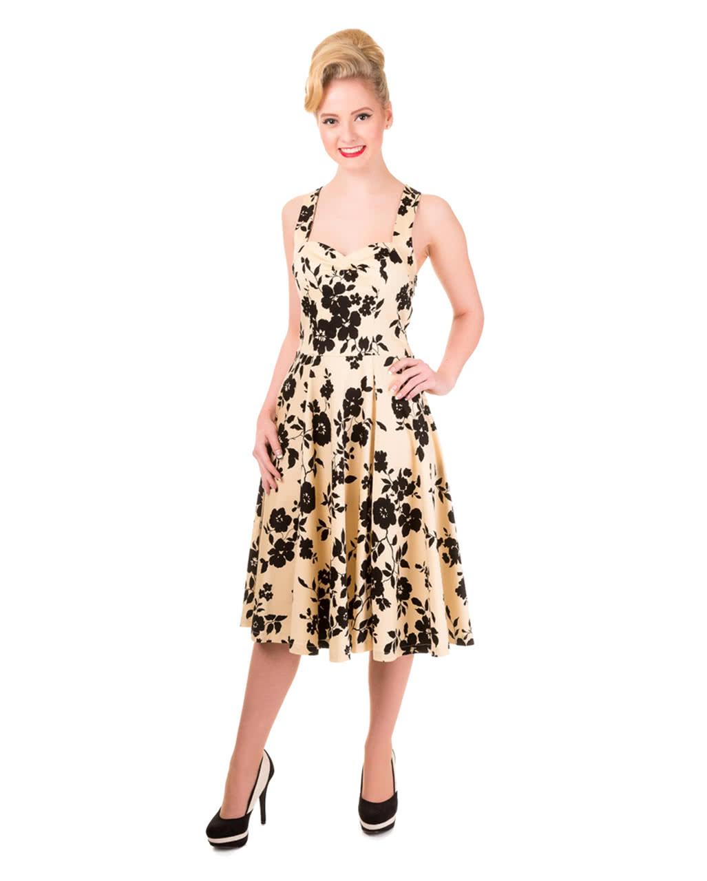 buy popular 1e510 d9744 50`s Neckholder Kleid mit Blumen beige/schwarz