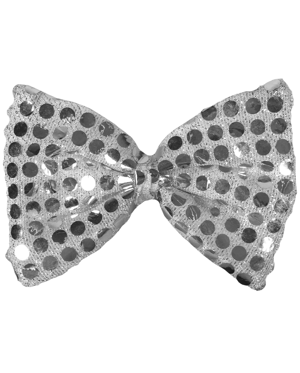 SILVER SEQUIN BOW TIE DISCO FANCY DRESS ACCESSORIES