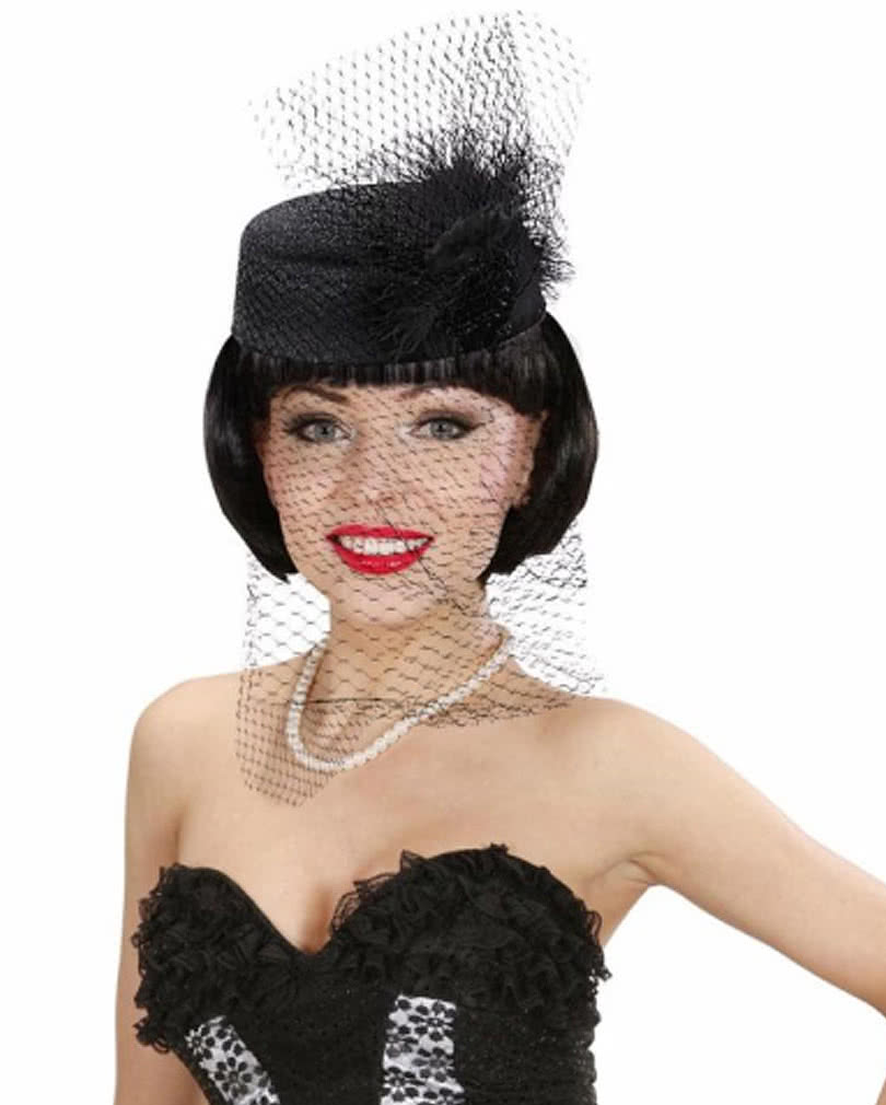 pillbox hat jackie black feathers for carnival horror. Black Bedroom Furniture Sets. Home Design Ideas