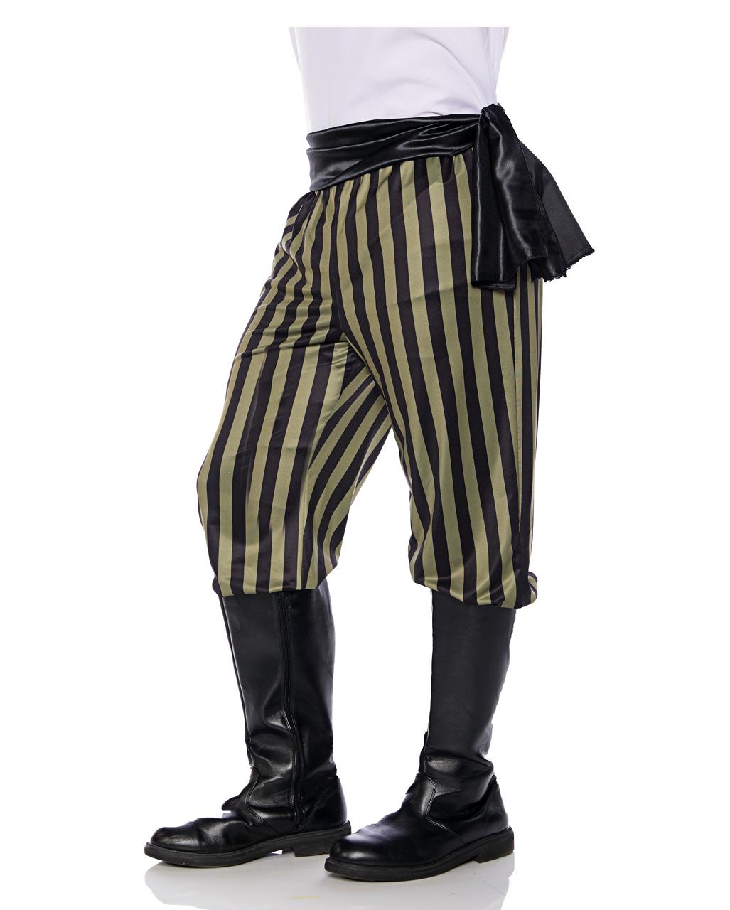 Piraten Kostümhose schwarz grün gestreift
