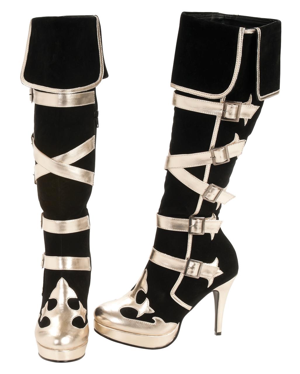 Piraten Stiefel schwarz gold