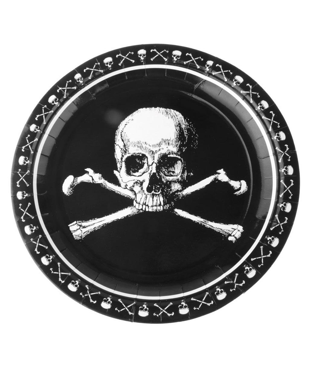 Pirates Skull And Crossbones Paper Plate Party Decoration Horror Shop Com