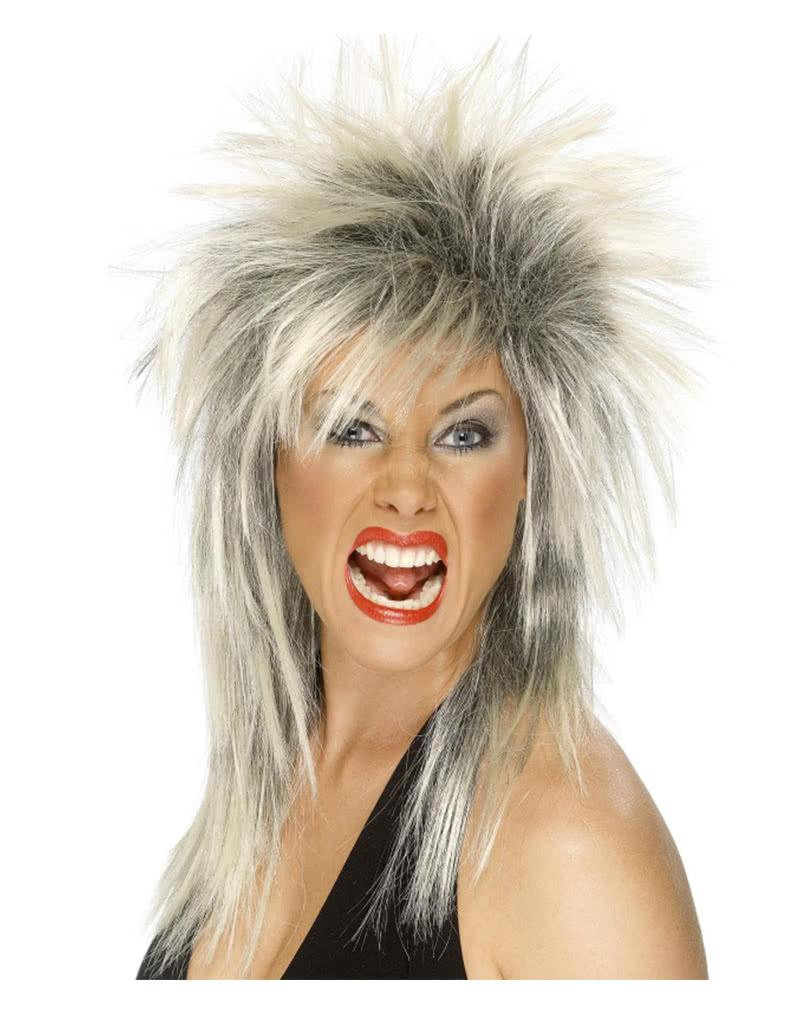 Men/'s Blonde 1980/'s Wild Boy Fancy Dress Star Wig Rocker Long Glam Rock Stag Fun