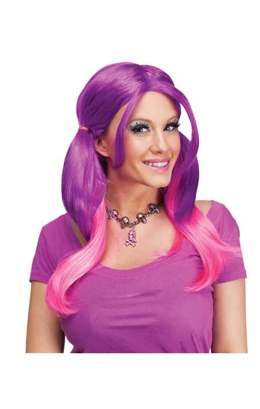 begrenzter Verkauf schön in der Farbe online Shop Shrill Zopfperücke pink-purple