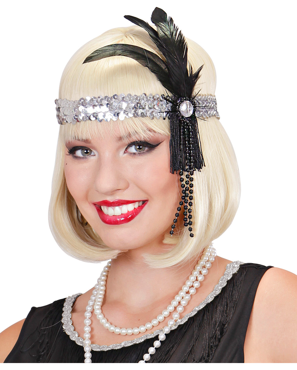 Ladies Black Flapper Headband With Gem /& Feather For Fancy Dress Costume