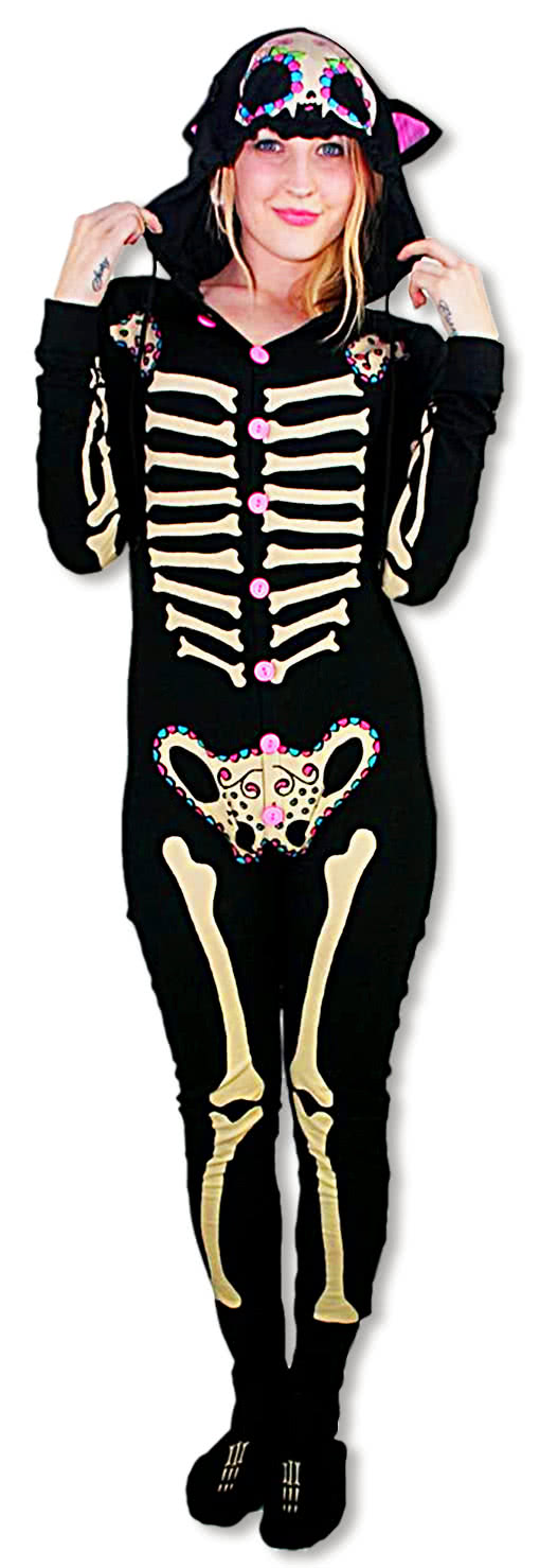 skeleton pyjamas kitty footed jumpsuit pajamas skeleton jimjams horror. Black Bedroom Furniture Sets. Home Design Ideas
