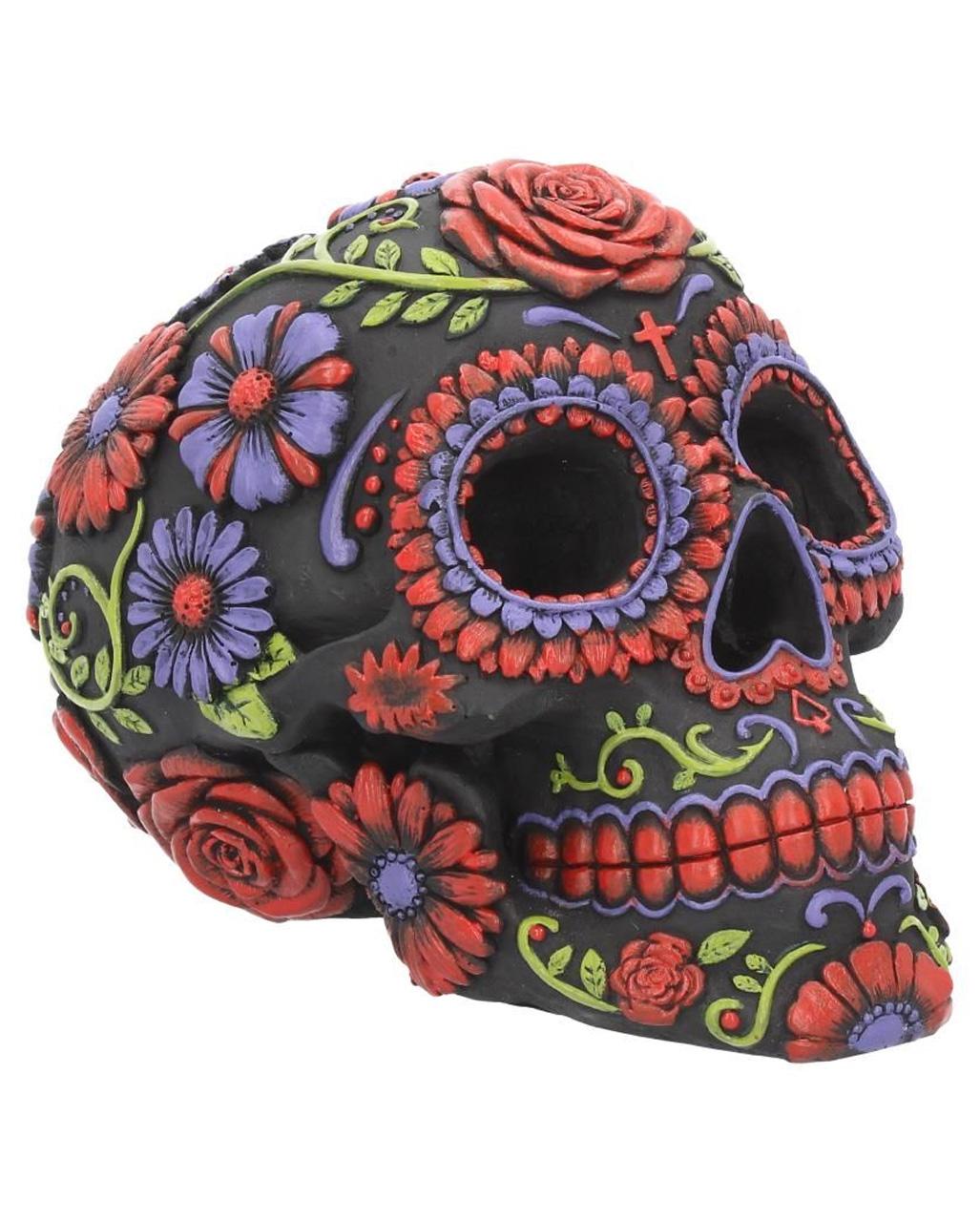 Sculpture Halloween Day of the Dead Decor Ornament Gothic Biker Zebra Print Decorative Skull