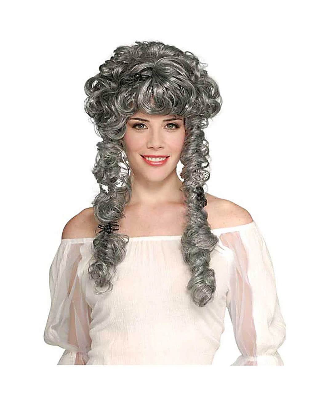 Death Princess Curly Wig Gray Baroque Wig For Halloween