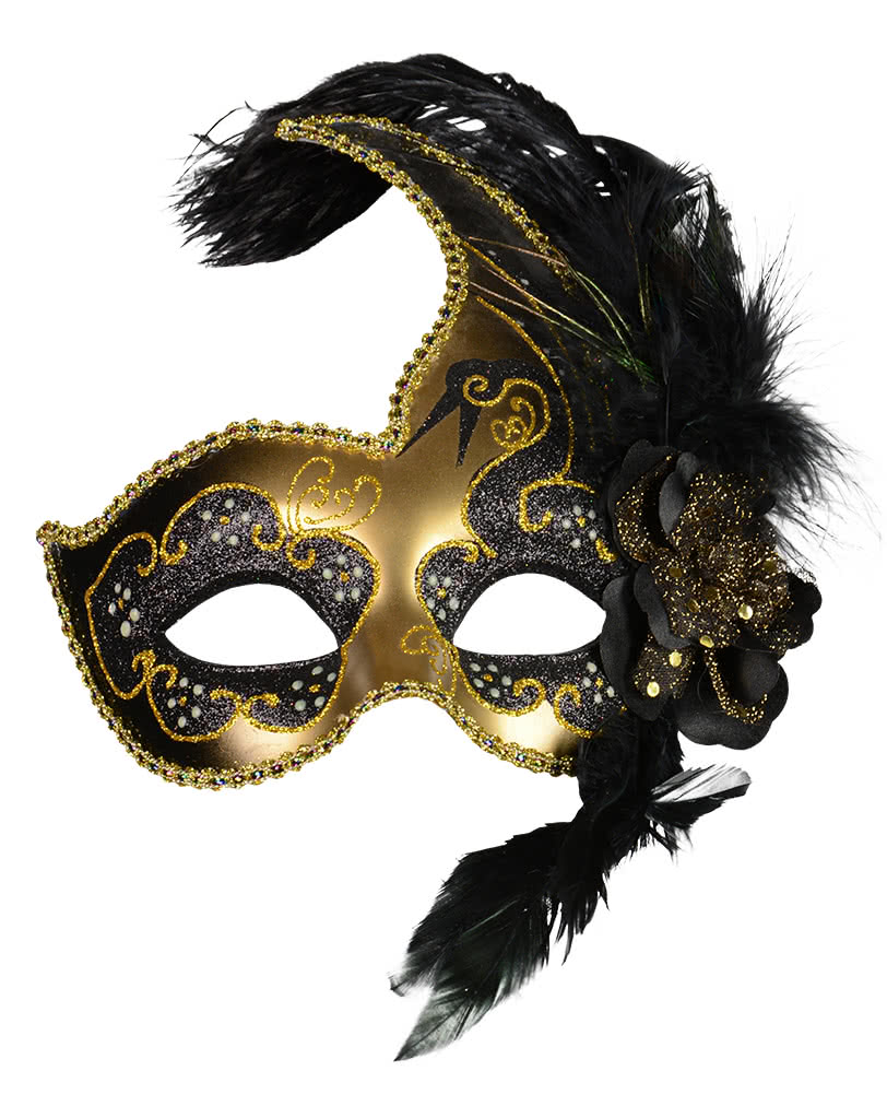 venezianische maske mit federn schwarz gold venezianische masken online kaufen horror. Black Bedroom Furniture Sets. Home Design Ideas