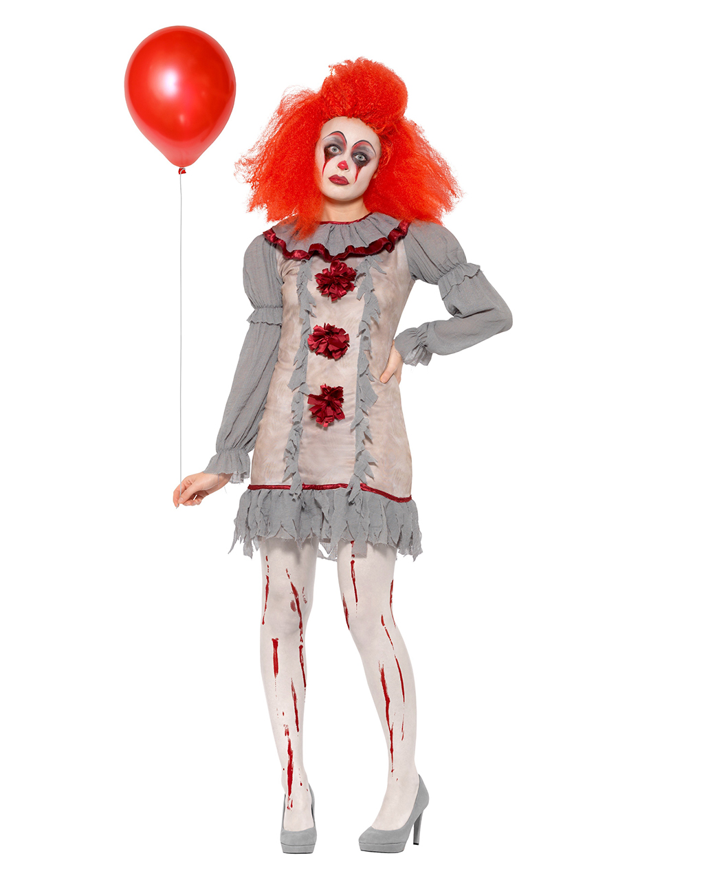 Killer Clown Halloween Costumes For Girls.Vintage Horror Clown Ladies Costume