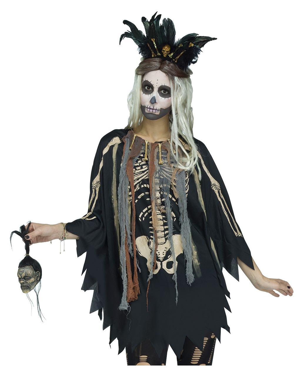 Voodoo Skelett Kostum Poncho As A Halloween Costume Horror Shop Com