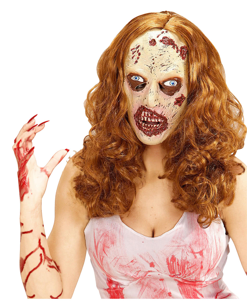 Female Zombie Mask with Hair