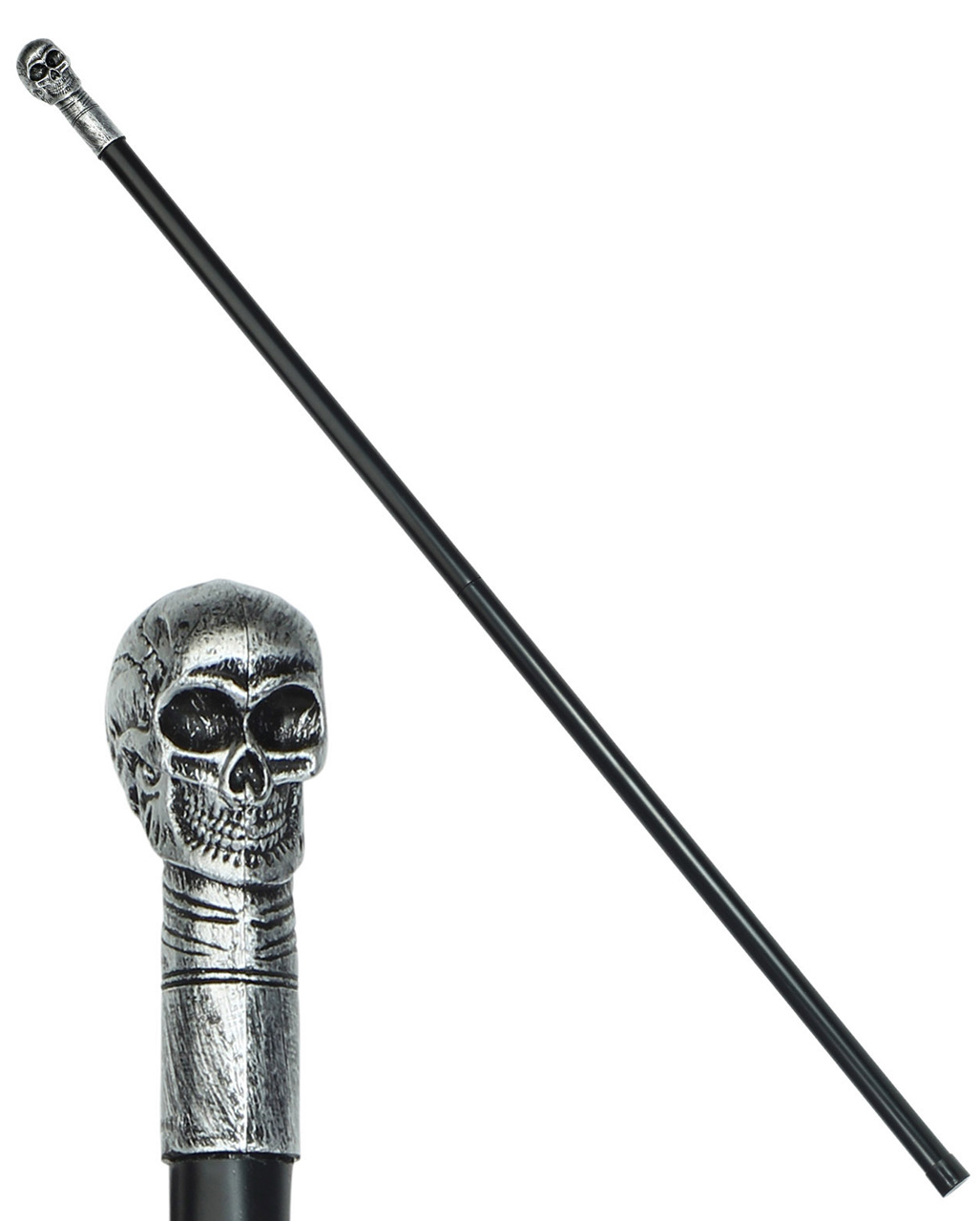 Skull Cane 3 Piece Halloween Silver Gothic Mens Fancy Dress Accessory
