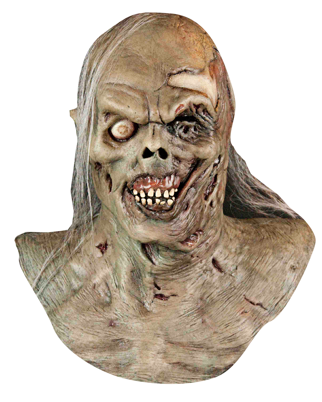 Zombie mask with synthetic hair