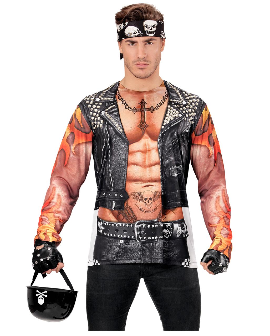 biker man shirt longsleeve als rocker kost mzubeh r. Black Bedroom Furniture Sets. Home Design Ideas